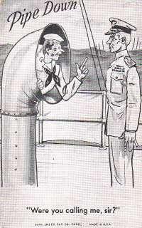 PIPE DOWN   1943 WW2 U.S. NAVY SAILOR CARTOON CARD