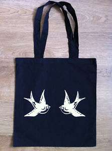 Tote Bag Shopper Vintage Swallow Tattoo Sailor Jerry