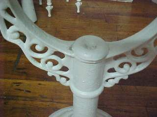Vintage Shabby Style White Iron Table & Glass