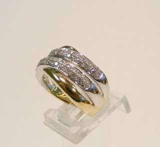 14K TWO TONE GOLD .90cttw MULTI DIAMOND CLUSTER RING BAND *