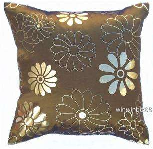 IVORY SILK HOT PRINT GOLD CUSHION COVER PILLOW CASE 17