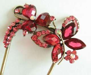 SWAROVSKI CRYSTAL BRONZE BUTTERFLY FLORAL HAIR STICK PIN PICK 565
