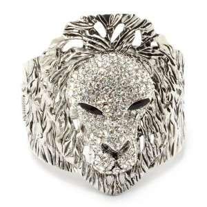ANIMAL JEWELRY   Clear Crystal Lion Bangle Bracelet Jewelry