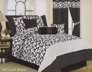 Black and White Floral 7Pc Comforter Set Queen Size Brand New
