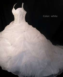 CUSTOM SZ organza empire line halter beads white/ivory wedding bridal