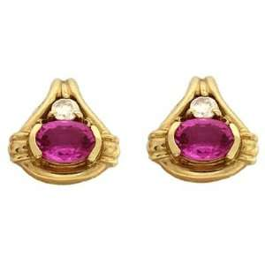 14k Yellow Pink Sapphire and Diamond Earrings   JewelryWeb Jewelry