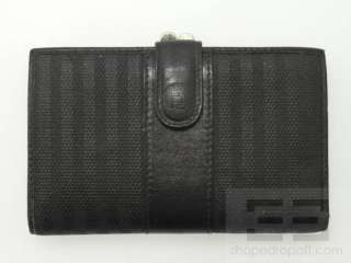 Vintage Black Striped Coated Canvas & Leather Trim Coin Purse Wallet