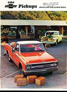 1969 Chevrolet Truck Pickup Sales Brochure Book Camper