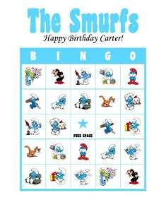The Smurfs Birthday Party Game Bingo Cards