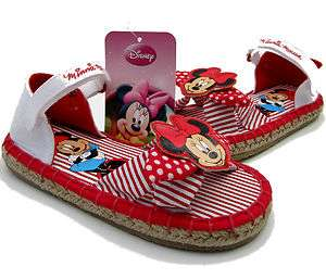 GIRLS BEAUTIFUL DISNEY MINNIE MOUSE WHITE & RED CANVAS SANDALS WITH