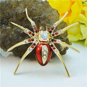 Fashion Spider Insect Brooch Pin Red Swarovski Crystal