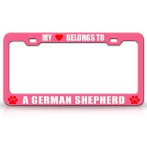 MY HEART BELONGS TO A GERMAN SHEPHERD Dog Pet Steel Metal Auto License