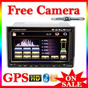 LCD In Car Stereo DVD Player Radio GPS Navigation System+Rear CAM+Map
