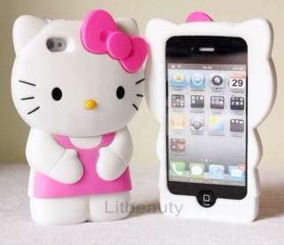Pink Cute Soft Silicone Hello Kitty 3D Case Cover Skin For iPhone 4 G
