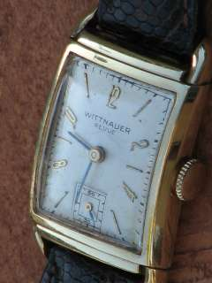 Wittnauer Revue Mens Vintage Mechanical 14K Solid Gold Wrist Watch 17