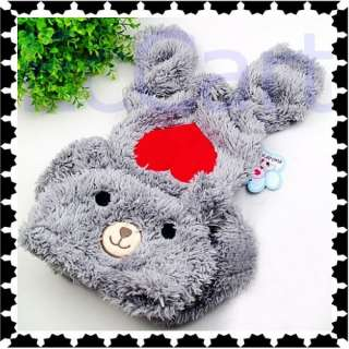 Grey Bear Dog Pet Clothes Lovely Red Heart Fleece Warm Thick Apparel