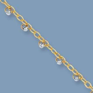 Dangle Bead Anklet Ankle Bracelet 14K Yellow White Gold