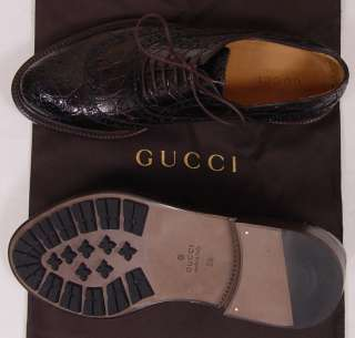 GUCCI SHOES $1980 DARK BROWN CROCODILE SKIN LOGO WING TIP OXFORD 9.5