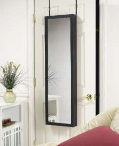 MIRROR JEWELRY ARMOIRE ORGANIZER OVER DOOR OR WALL HANG BLACK FREE