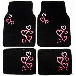 Pink Hearts Front and Rear Car Floor Mats