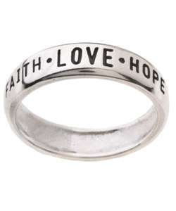 Sterling Silver Faith Love Hope Ring