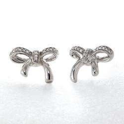 Sterling Silver White Diamond Bow Earrings
