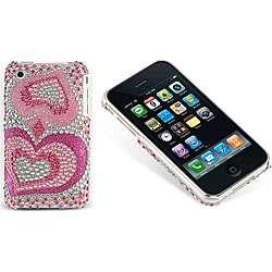 Iphone 3G 3GS Rhinestone Pink Heart Rear Case