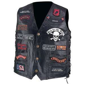 BLACK LEATHER MOTORCYCLE VEST 23 Biker Patches M 3XL