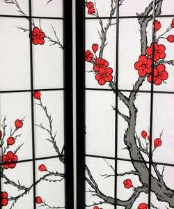 Spruce Wood and Rice Paper Cherry Blossom Shoji Screen (China