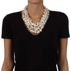 Nanni Silver White Keshi Five strand Pearl Necklace (11 13 mm