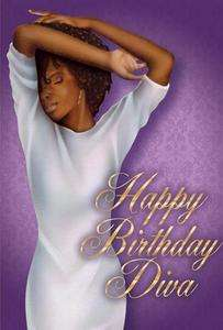 African American Woman Happy Birthday Diva Greeting Card