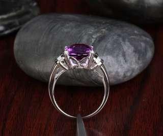 AMETHYST 14K WHITE GOLD .31CT DIAMOND ENGAGEMENT Wedding RING