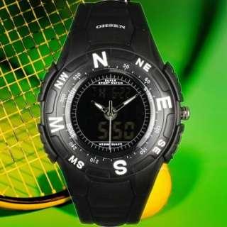 Sport* Mens Black Rubber Strap Digital Analog Wrist Watch