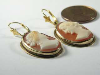 ANTIQUE ENGLISH 9K GOLD CARVED CAMEO EARRINGS c1920s