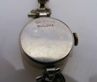 Antique Bulova Platinum & Iridium Diamond Watch 14K