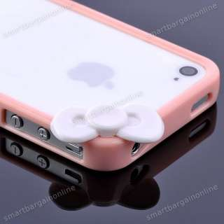 Hellokitty Bow Pink Frame Cover Case For Apple iphone 4S 4G