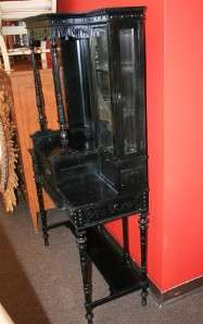 1880s Antique Ebonized Victorian Carved Tassel Etagere Mirror Display