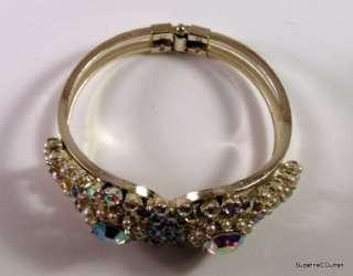 Vintage Aurora Borealis Rhinestone & Faux Pearl Clamper Bracelet Free