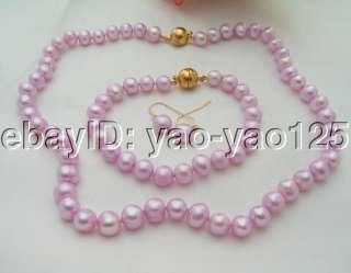 Baby Pink Pearl Necklace&Bracelet &Earring Set