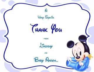 24 Baby Mickey Mouse Baby Shower Thank You Cards