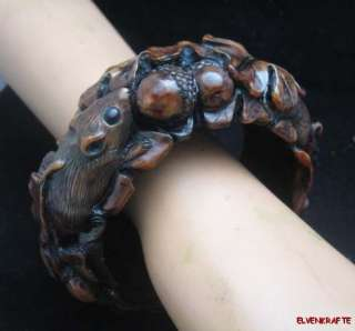Bakelite Mice Looking for Acorns in Oak Leaves Bracelet Bangle