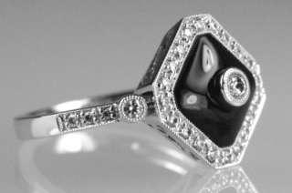 Gold ONYX & DIAMOND RING Fabulous Art Deco style Diamond & Onyx ring