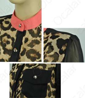 New Fashion Women Leopard Chiffon Top shirts Blouse Half Sleeve