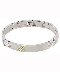 10k Yellow Gold Mens Steel Diamond Bracelet
