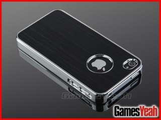 Deluxe Black Aluminum Chrome Hard Case Cover F iPhone ATT Verizon