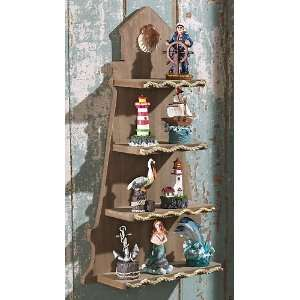 Lighthouse Nautical Wooden Wall Display Shelf
