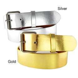 Womens Metallic 1.5 cm Faux Leather Belt