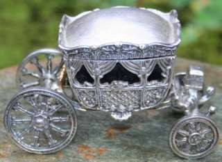 RARE~Antique SOLID STERLING 925~14K GOLD Fairy Tale Carriage Coach