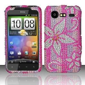 HOT PINK FLOWERS Hard Plastic Rhinestone Bling Case for HTC Incredible