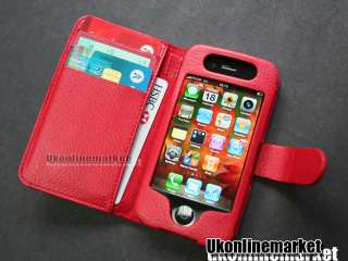 Red Leather Skin Case Cover Pouch Book+Strap for Apple iPhone 4 4S
